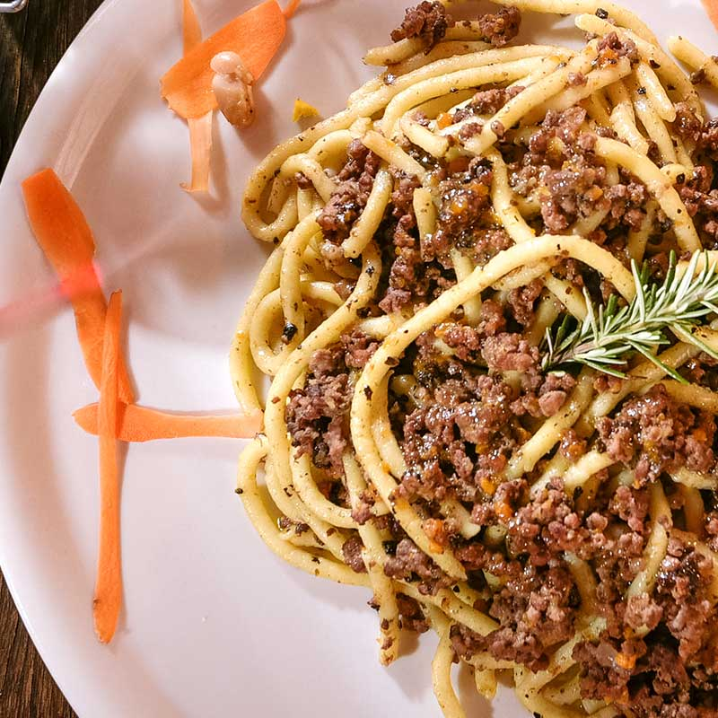 PICI WITH MEAT SAUCE